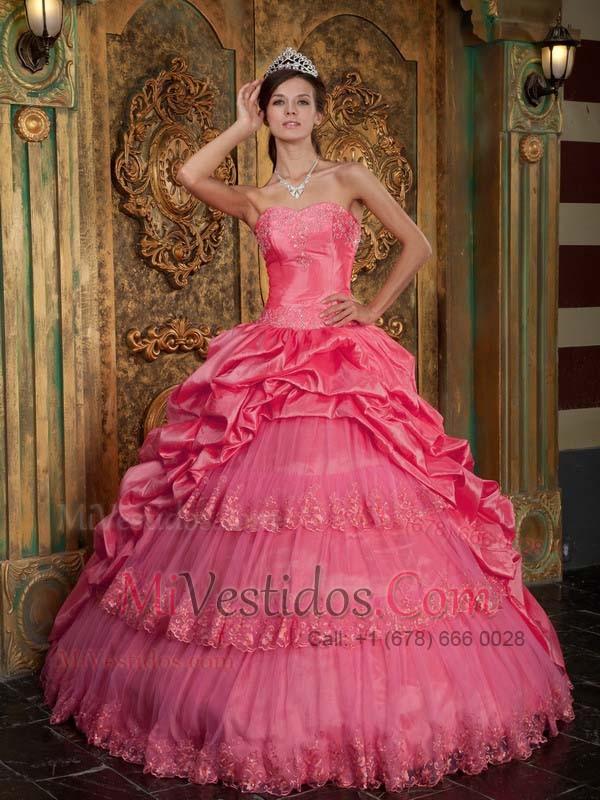 Rojo Coral Vestido De Fiesta Dulceheart Hasta El Suelo Tafetán Y Tul ...