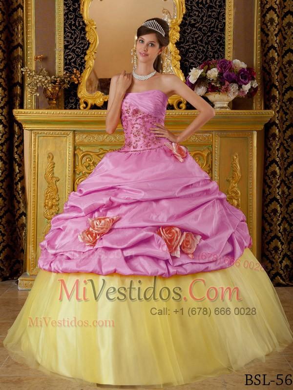 Caliente Rosa Y Amarillo Vestido De Fiesta Estrapless Hasta El Suelo ...