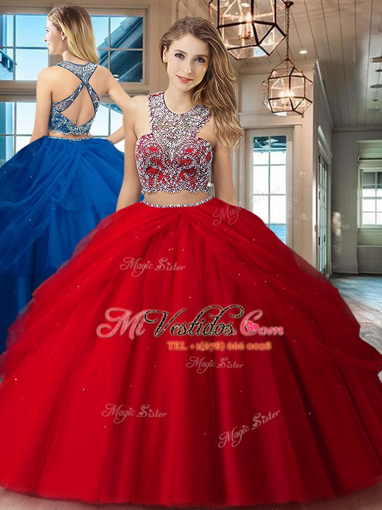 e6ced7598 Cucharada de tul sin mangas criss cross rebordear y recoger dulce 16  vestidos en rojo. triumph