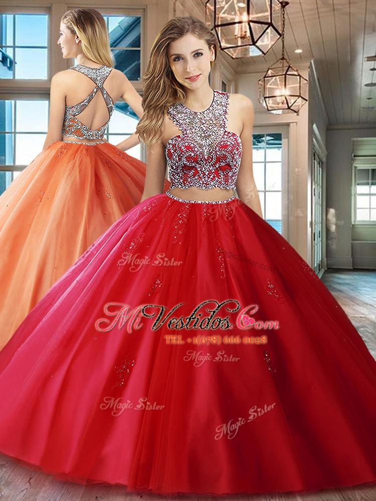 36a974602 Personalizado diseño cuña tul rojo criss cruz vestidos de quinceañera sin  mangas con cepillo trenzado tren. triumph