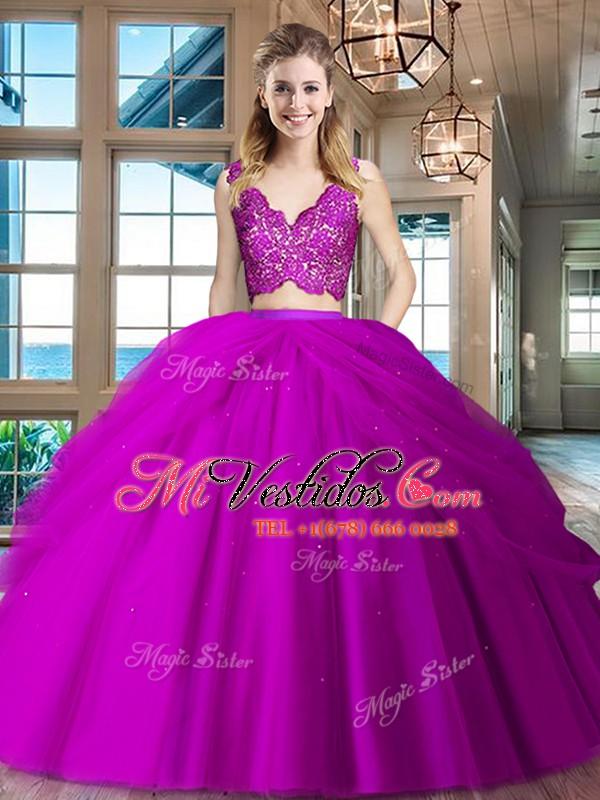 Fucsia cremallera quinceanera vestido de encaje y capas de rizado ...