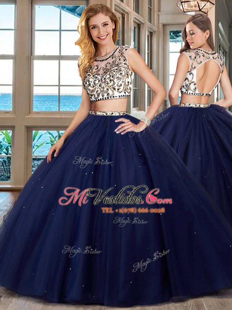 97bca3bbd5 Liquidación scoop azul marino dos piezas rebordeando 15 quinceanera vestido  sin espalda tul mangas con el. triumph