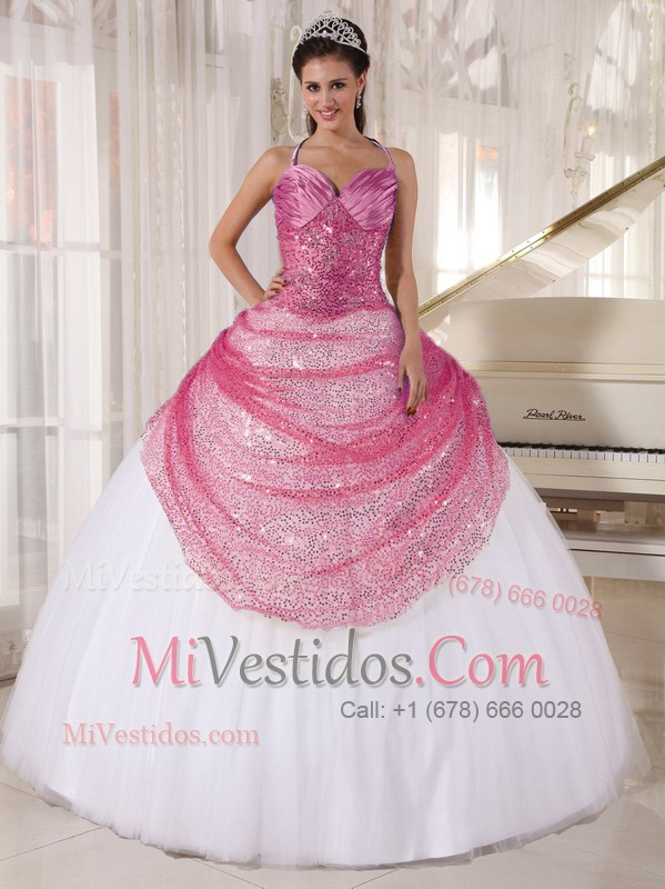 Rose Rosa Y Blanco Vestido De Fiesta Spaghetti Tirantes Hasta El ...