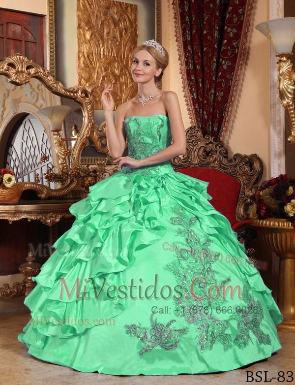 Vestidos de promocion color verde manzana