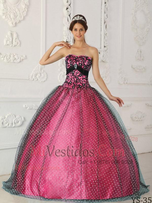 Negro Y Caliente Rosa Vestido De Fiesta Estrapless Hasta El Suelo ...
