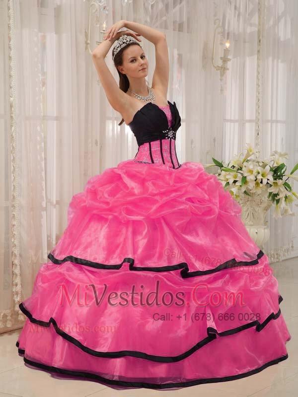 Caliente Rosa Y Negro Vestido De Fiesta Estrapless Hasta El Suelo ...
