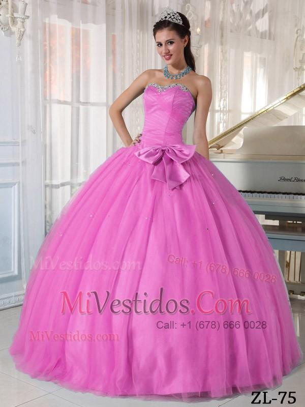 Rosa Rosa Vestido De Fiesta Dulceheart Hasta El Suelo Tul Bordado Y ...