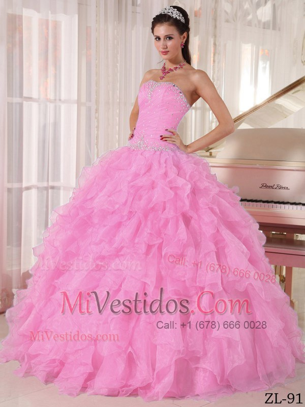 Rosa Bebé Vestido De Fiesta Estrapless Hasta El Suelo Organdí ...
