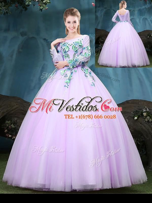 3f5b09bbe Cucharada mangas largas longitud de piso de tul hasta vestidos de  quinceañera en lila con apliques. triumph