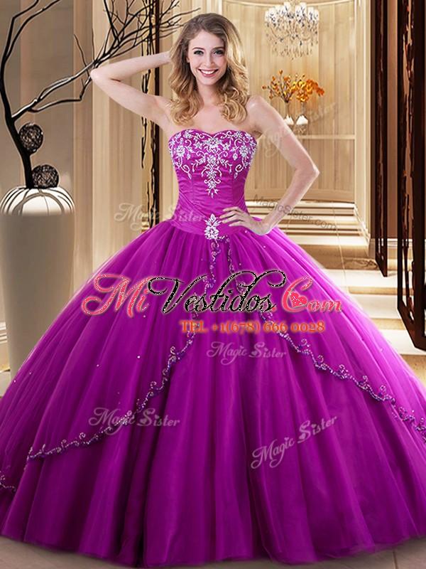 Fucsia vestidos de fiesta bordado dulce 16 vestido de quinceañera ...
