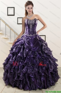 2015 Exquisito Sweetheart Purple Vestidos de quincea?era con apliques