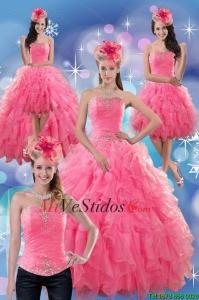 90047fa3f0 €426.23 €209.95  2015 Hermosa rosa rosa sin tirantes de vestidos de Quince  con las colmenas y rebordear