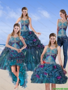 2015 desmontable Multi Color Quinceañera vestido con Made mano de la flor y Pick Ups