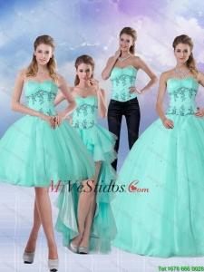 Pretty Green Apple Sweetheart 2015 vestido de quinceañera con Appliques y rebordear