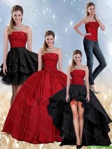 Vestidos de xv negro con rojo