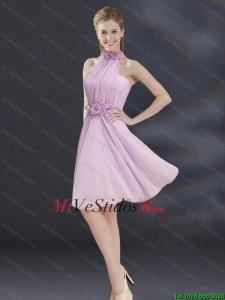 0d4ff1caa0 €299.57 €132.00  Halter vestido de dama de línea con Ruhing y flores hechas  a mano