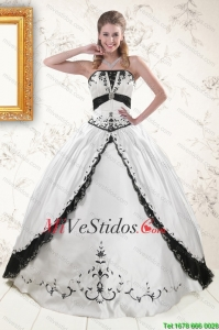 2015 exquisitos bordados vestidos de quinceañera de Blanco y Negro
