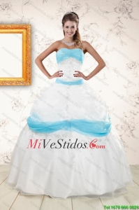 Blanco elegante y Bola Azul bebé vestido de Quinceanera Dress for 2015