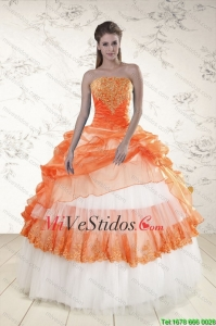 2015 Perfect Strapless Appliques y con cuentas vestidos de quinceañera en Orange