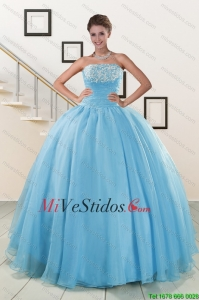 Aqua Blue Súper Hot Puffy Sweet 16 Vestidos para 2015