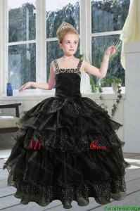 2015 Fashionable Black Straps Little Girl Pageant Dress with Sequins and Ruffles