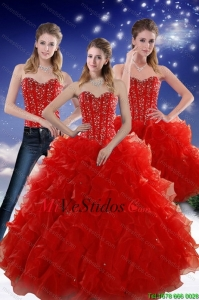 2015 Perfect Red Sweetheart membrillo Vestidos con rebordear y Ruffles