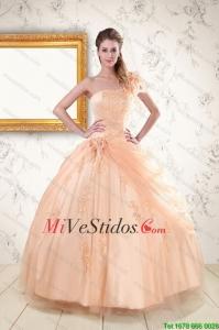 f3a9303767 €445.62 €221.26  2015 Pretty Apliques de un hombro vestido de quinceañera  en Peach
