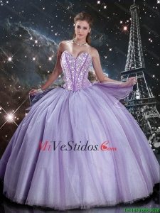 Suitable Sweetheart Lavender Tulle Sweet 16 Dresses with Beading