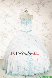 Modest Appliques Quinceañera Dresses in White for 2015