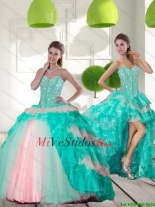 6a647096e Rebordear delicado y rizadas Capas Vestidos de quinceañera en Multi Color  para 2015