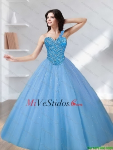 2015 Pretty Sweetheart Tulle Beading Quinceanera Dresses in Blue