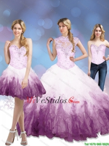 Exclusivos 2015 Multi color Vestidos de quinceañera con Volantes Bordoneado y