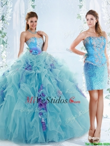 Exquisitos Applique Corpiño azul Aquadesmontables Quinceañera Vestidos de Organdí