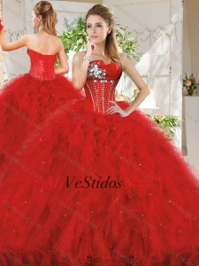 Popular Realmente Puffy Red Dress quinceañera con rebordear y volantes