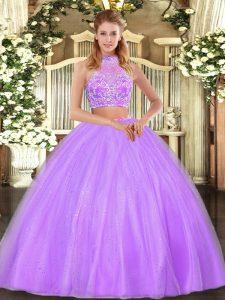 b50fb8a9a €323.87 €172.56  lila dos piezas halter top sin mangas de tul longitud del  piso entrecruzar rebordear 15to vestido