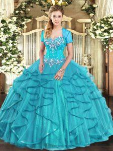 26997e638 €354.08 €215.90  Vestidos de fiesta de color azul aguamarina de alta  calidad amor piso de tul sin mangas