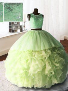 5af4a2c69 €416.78 €248.82  Amarillo verde bola vestidos cucharada sin mangas de  organza y tul y encaje con cepillo de