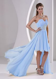 High-low Dulceheart Beaded Azul Claro Chifón Desmontable Paseo / Homecoming Vestido para Customer Made