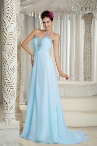Azul Claro 2015 Paseo Vestido Corte Imperial Dulceheart Bordado Brush Train