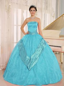 Azul Aqua Beaded Decorate 2015 Vestidos De Quinceañera Con Estrapless