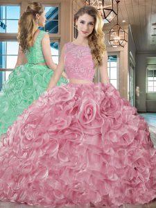 6959c5926 €566.48 €382.40  Rosa dos piezas encaje y volantes vestido de cumpleaños 15  cordón hasta organza sin mangas con