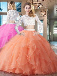 acb4f3c2c €410.76 €267.47  Dazzling cucharada dos piezas de manga larga vestido de  bola de color naranja vestido de baile