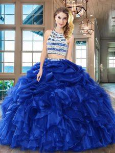8cc77388e 242.05  Cucharada backless piso longitud azul real dulce 16 vestido organza sin  mangas rebordear y volantes y