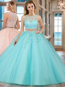 5f0108988 €566.48 €382.40  Dos piezas 15 vestido quinceanera aqua azul cucharada tul  sin mangas de longitud de piso cremallera