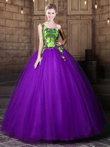 df3d5e042 €327.76 €173.97  Un asombroso hombro quinceanera sin mangas vestidos patrón  de longitud de piso berenjena púrpura tul